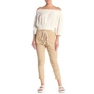 🥥Free People Moss/Cream Straight Leg Ankle Length